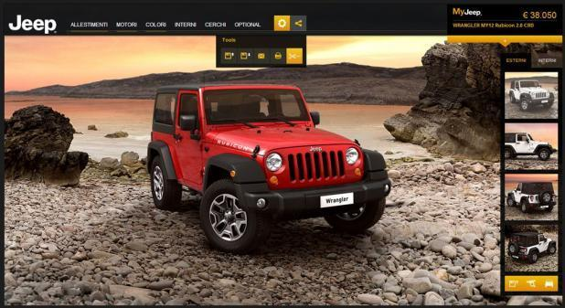 Screenshot del car configurator Jeep Wrangler anteriore