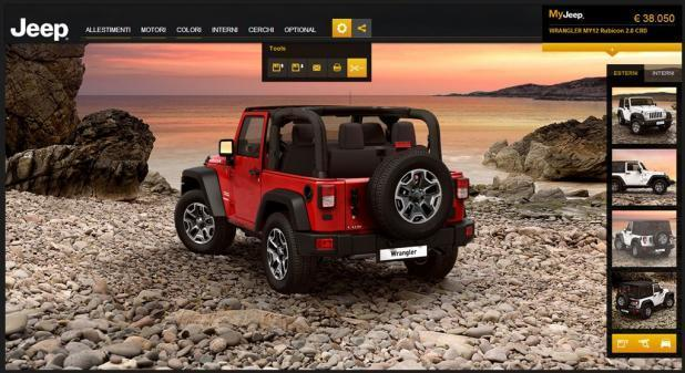 Screenshot del car configurator Jeep Wrangler posteriore