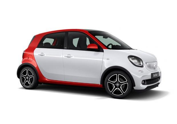 Smart Forfour red and the city